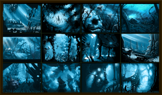 concept art thumbnails for underwater pandora from the movie avatar 2