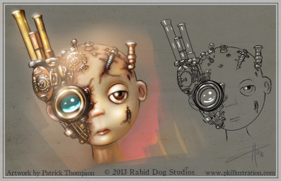 steampunk child cyborg sad doll head concept art illustration pkgameart