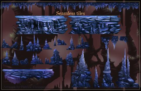game platform tiles parallax cave seamless stalagmites stalactites art illustration pkgameart