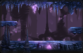 game background parallax cave platform stalagmite stalactite glowing crystals art illustration pkgameart