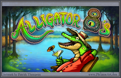 alligator 8's logo title text splash title screen bayou slot machine game Louisiana