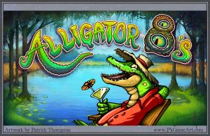 alligator 8's logo title text splash title screen bayou slot machine game Louisiana