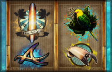 game icons 2d symbols slot machine surfing crab claw parrot surfboard ace wood reels pkgameart