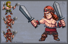 barbarian game concept warrior character fantasy cartoon mobile game conan art illustration pkgameart