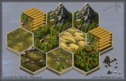 game tile hexagon terrain settler's of catan forest mountain wheat grassland desert art illustration pkgameart isometric