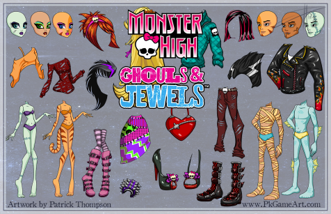 game character monster high dress up ghouls and jewels fashion girls boys art illustration pkgameart