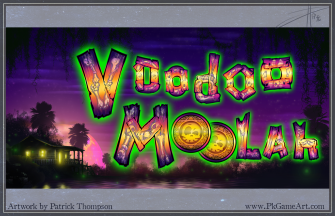 game logo text title screen voodoo moolah slot machine bone planks bayou Louisiana