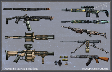 game weapon gun side top view war mobile pkgameart flame thrower grenade launcher m14 shotgun machine gun ak47