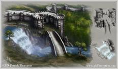concept art castle waterfall wall turrets sketch illustration art pkgameart