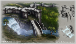 concept art castle waterfall wall turrets sketch illustration art pkgameart