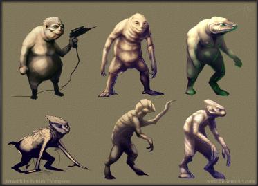 alien thumbnail concept sketches art illustration pkgameart amphibious creature extraterrestrial