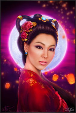 chang'e moon goddess chinese china beauty woman moon cake festival sky lantern princess character design art illustration pkgameart slot machine game divine moon