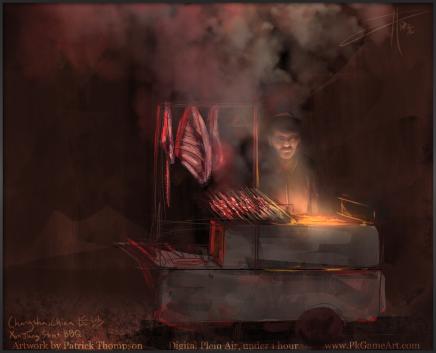 changsha plein air painting digital sketch china alley 长沙 中国 绘画 alley xinjiang bbq barbecue 新疆 烤肉
