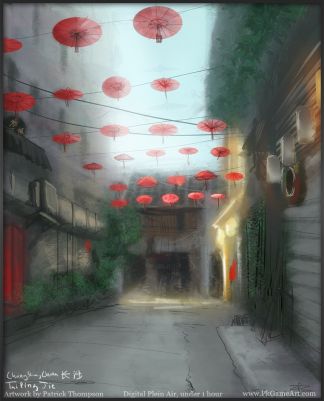 changsha plein air painting digital sketch china taiping jie alley 太平街 长沙 中国 绘画