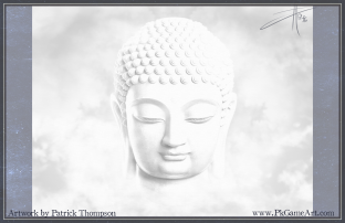 buddha buddhist cloud peace white floating smile meditation painting art illustration pkgameart