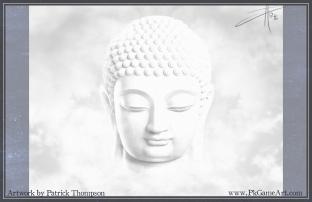buddha buddhist cloud peace white floating smile meditation painting art illustration pkgameart