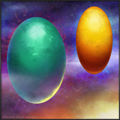 cosmic egg sketch concept painting space jade gold art illustration pkgameart