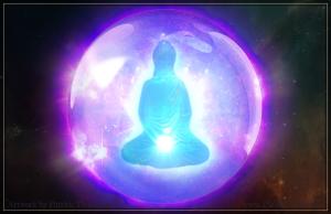 meditation center buddha buddhist glowing light inner body floating dhammakaya art illustration pkgameart