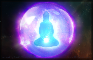 meditation center buddha buddhist glowing light inner body floating dhammakaya art illustration pkgameart