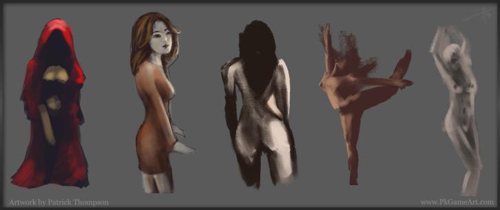 figure painting sketch practice quick pose girls art illustration pkgameart
