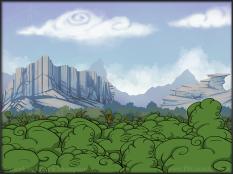 background forest mountains cartoon art illustration pkgameart