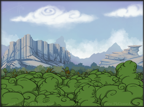 background forest mountains cartoon art illustration pkgameart