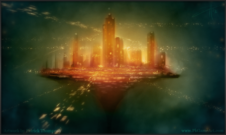 concept art floating city flying car science fiction sci-fi glow illustration pkgameart