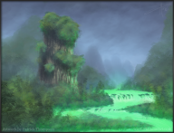 concept yangshuo jade river dead china mountains glowing art illustration pkgameart