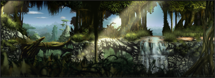 game background parallax forest jungle seamless tiles bridges platform art illustration pkgameart