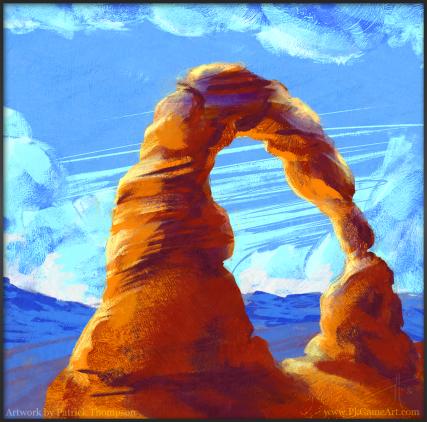 moab arch utah digital oil painting concept art illustration pkgameart