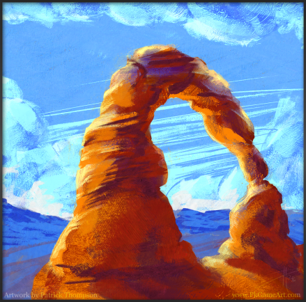 moab arch utah digital oil painting concept art illustration pkgameart