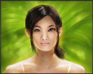 oil painting chinese woman girl beautiful portrait concept glow light loose figure art illustration pkgameart