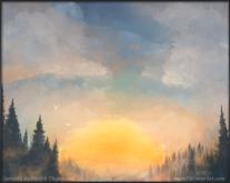 sunset oil painting forest mist lake fishing art illustration pkgameart