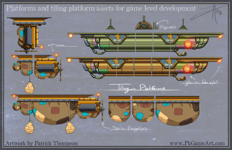 2d game assets platform flying floating seamless tiling background props steampunk mobile city pkgameart level