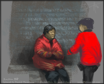 xian china plein air painting digital oil figure drawing 西安 绘画 中国 pkgameart old ladies chatting