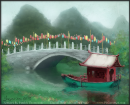 yangshuo plein air painting art oil west street xijie bridge boat illustration pkgameart