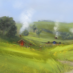 hobbiton plein air digital painting speedpaint 1hour