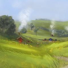 hobbiton plein air digital painting speedpaint 1hour