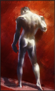 figure painting red dude pkgameart