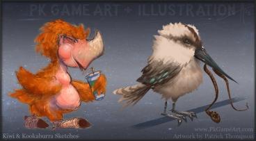 kiwi and kookaburra sketch pkgameart
