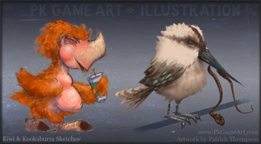 kiwi and kookaburra sketch pkgameart