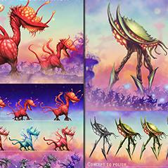 alien concept art for platformer game